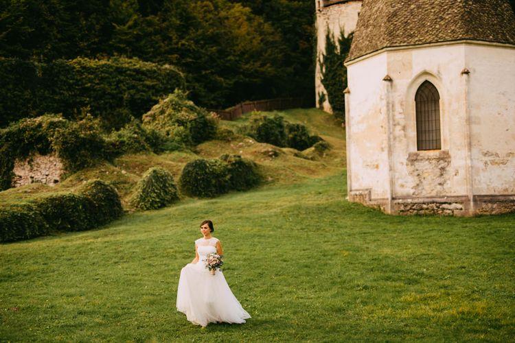 Bride at an Ruin Monastery Žiče Charterhouse in Slovenia