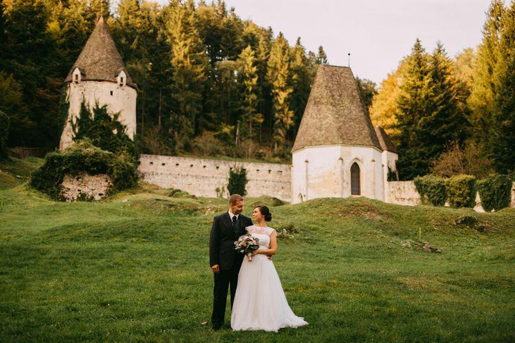 Bride & Groom at an Ruin Monastery Žiče Charterhouse in Slovenia