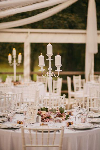White Candelabra Table Centrepieces