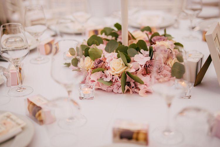 White Candelabra & Blush Pink Flower Table Centrepieces