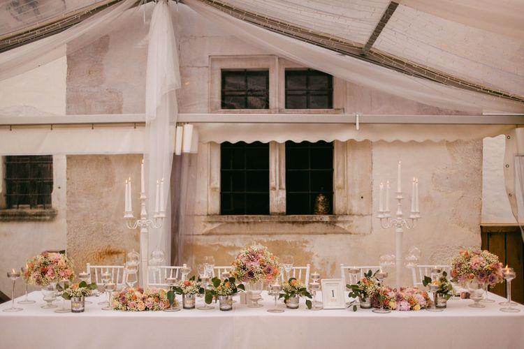 White Candelabra & Blush Pink Flower Top Table Decor