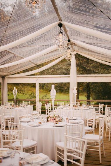 White Candelabra & Blush Pink Flower Wedding Reception