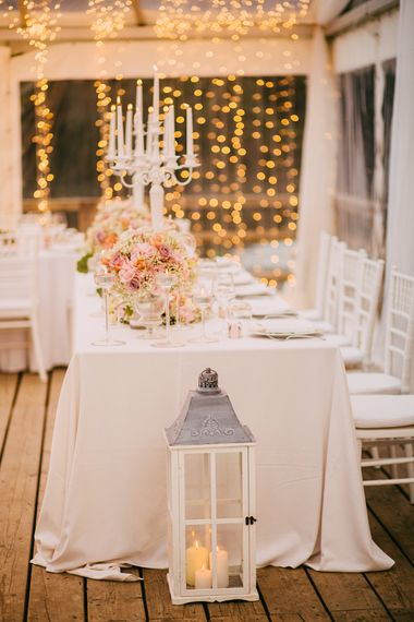 Blush Pink & White Reception with Fairy Light Back Drop