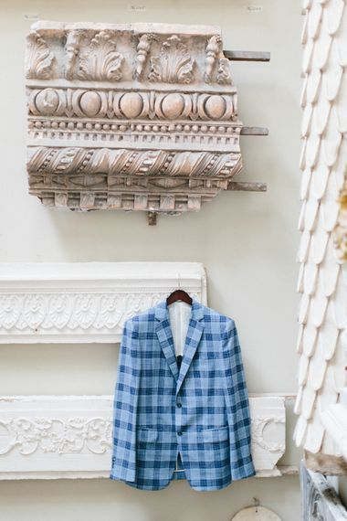 Bespoke Checked Suit Jacket For Groom
