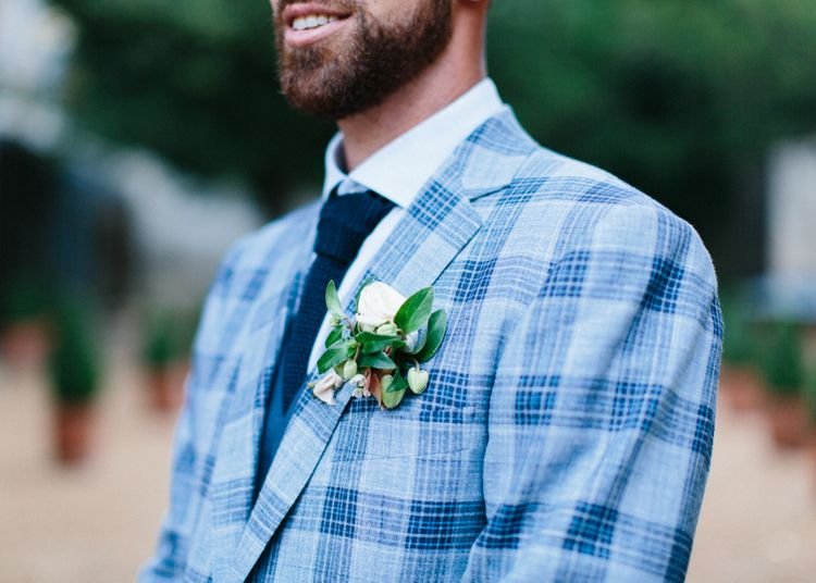 Groom In Bespoke Checked Suit Jacket