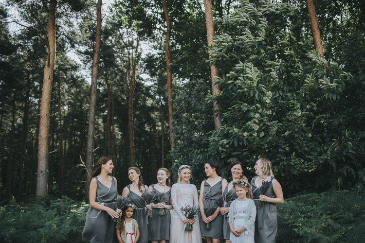 Bride in Katya Katya Shehurina Wedding Dress & Flower Crown with Bridesmaids in Custom Made Dresses