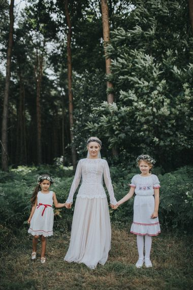 Bride in Katya Katya Shehurina Wedding Dress & Flower Crown with Flower Girls