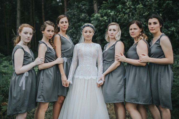 Bridesmaids in Bespoke Dresses