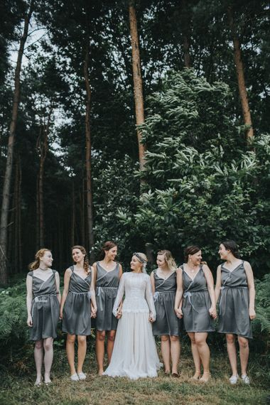 Bride in Katya Katya Shehurina Wedding Dress & Bridesmaids in Bespoke Dresses