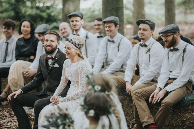 Outdoor Woodland Wedding Ceremony with Bride in Katya Katya Shehurina Wedding Dress & Flower Crown