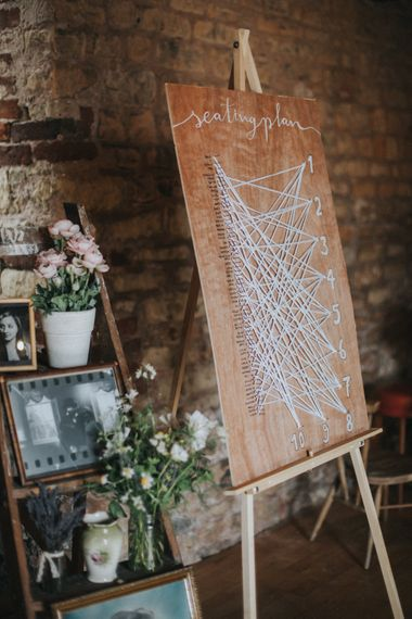 String Seating Plan & Vintage Step Ladder Decor