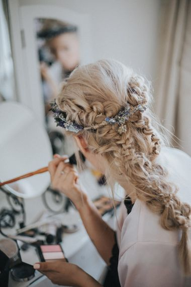 Braided Bridal Up Do & Flower Crown