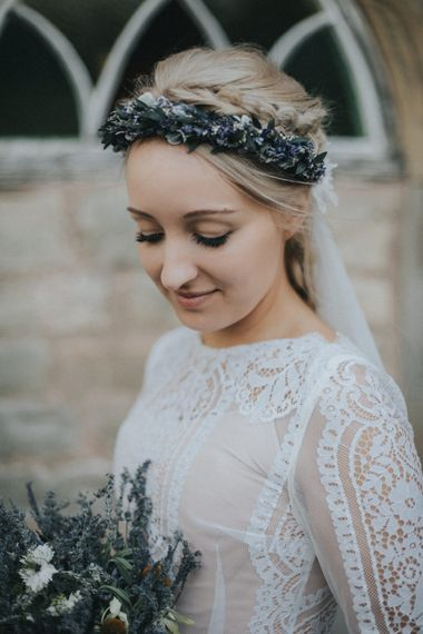 Bride in Katya Katya Shehurina Wedding Dress & Flower Crown