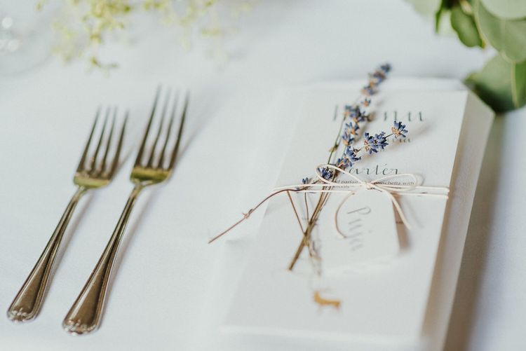 Simple Place Setting With Dried Lavender