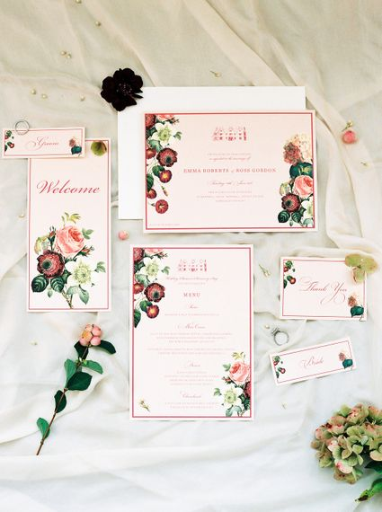 Emily & Jo Wedding Stationery | Opulent Wedding Inspiration at Warmwell House in Dorset with Rich colour Palette Planned by Kelly Chandler | Imogen Xiana Photography | Gorgeous Films