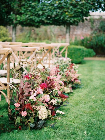 Rich Aisle Wedding Flowers by Martha & the Meadow | Opulent Wedding Inspiration at Warmwell House in Dorset with Rich colour Palette Planned by Kelly Chandler | Imogen Xiana Photography | Gorgeous Films
