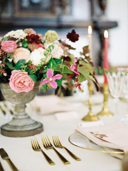 Rich Table Scape Decor with Taper Candles, Floral Centrepieces & Gold Cutlery | Opulent Wedding Inspiration at Warmwell House in Dorset with Rich colour Palette Planned by Kelly Chandler | Imogen Xiana Photography | Gorgeous Films