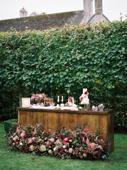 Drink & Cake Station | Opulent Wedding Inspiration at Warmwell House in Dorset with Rich colour Palette Planned by Kelly Chandler | Imogen Xiana Photography | Gorgeous Films