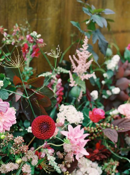 Rich Wedding Flowers by Martha & the Meadow | Opulent Wedding Inspiration at Warmwell House in Dorset with Rich colour Palette Planned by Kelly Chandler | Imogen Xiana Photography | Gorgeous Films
