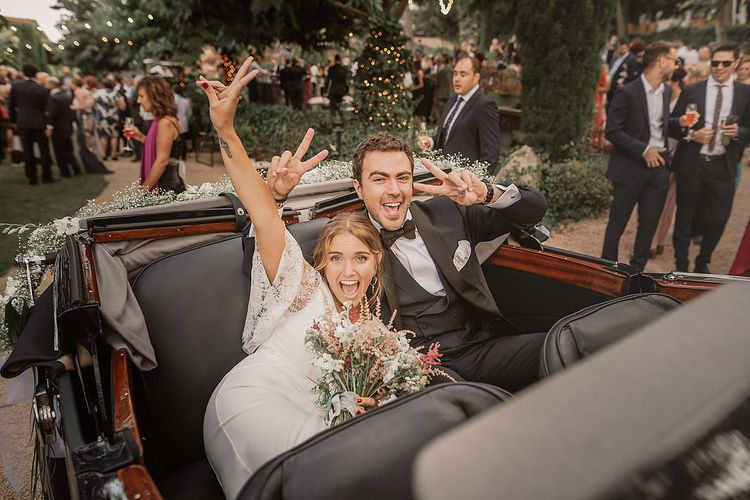 Wedding Car // Bohemian Festival Wedding In Large Glasshouse In Spain With Outdoor Ceremony And Pampas Grass Planning & Styling By La Puta Suegra Images By Pablo Laguia