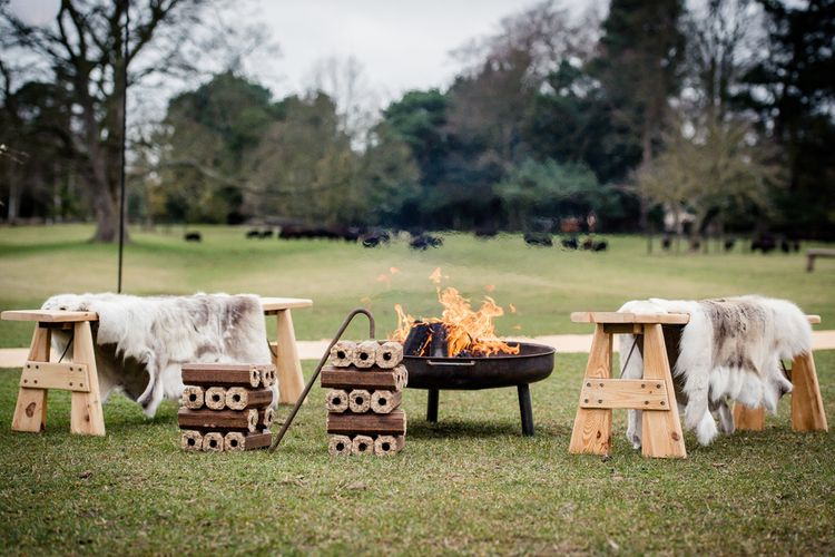 Fire Pit & Outdoor Seating Area For Summer Wedding