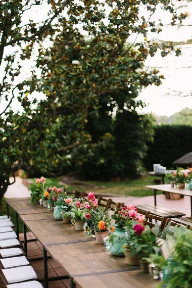 Outdoor Reception Plant Pot Wedding Flowers
