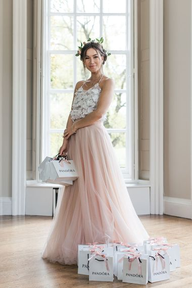 Bridesmaid in Blush Pink Skirt & Appliqué Top Separates from Raspberry Pavlova