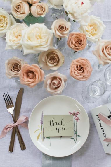 Table Setting with Blush Floral Stems
