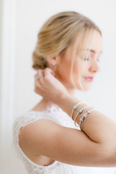 Elegant Low Bun For Bride With Elegant PANDORA Jewellery