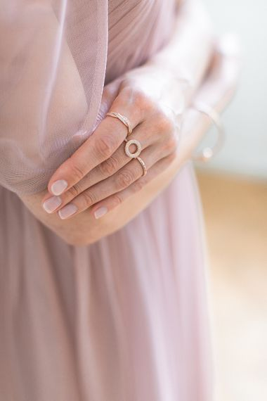 PANDORA Rose Jewellery To Compliment A Blush Pink Bridesmaids Dress & Romantic Up Do