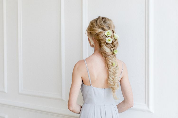 Fishtail Braid For Bridesmaids With Fresh Flowers