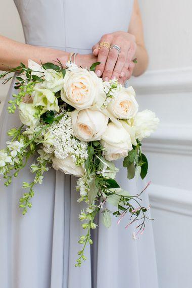 Creamy Rose Wedding Bouquet With Foliage