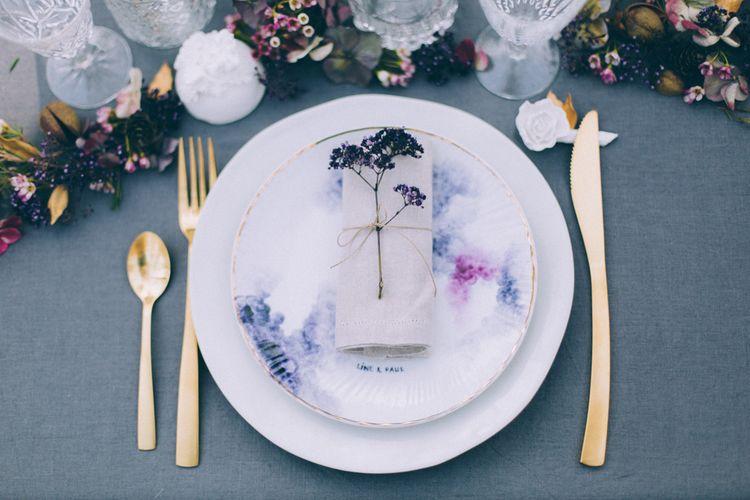 French Woodland Wedding Scene Grey Tablescape
