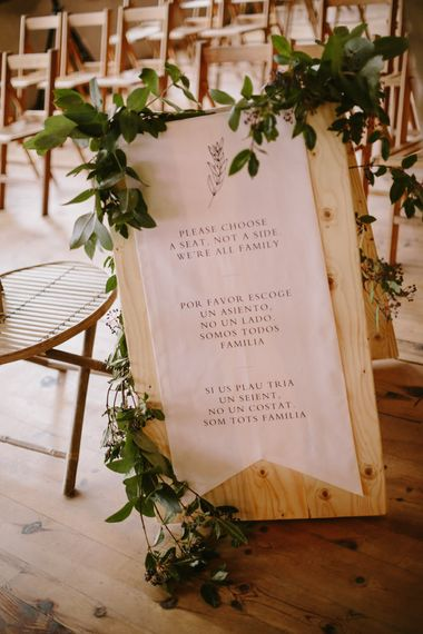 Aisle Wedding Sign | Spanish Wedding at Can Valldaura Planned by Collage eStudio | Images by Marcos Sanchez | Monika Frias Videography