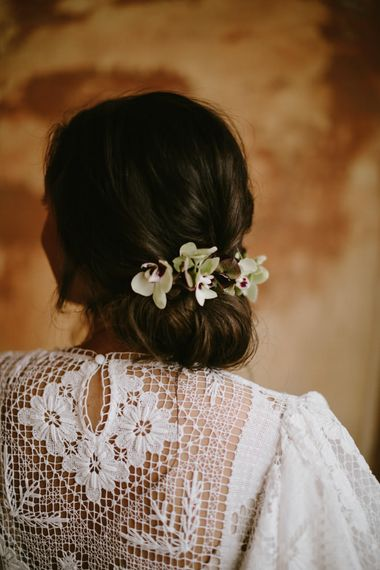 Bridal Hairstyle with Fresh Flowers | Spanish Wedding at Can Valldaura Planned by Collage eStudio | Images by Marcos Sanchez | Monika Frias Videography