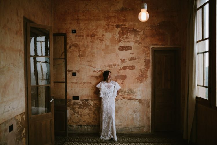 Bride in Nevenka Lace Bridal Gown | Spanish Wedding at Can Valldaura Planned by Collage eStudio | Images by Marcos Sanchez | Monika Frias Videography