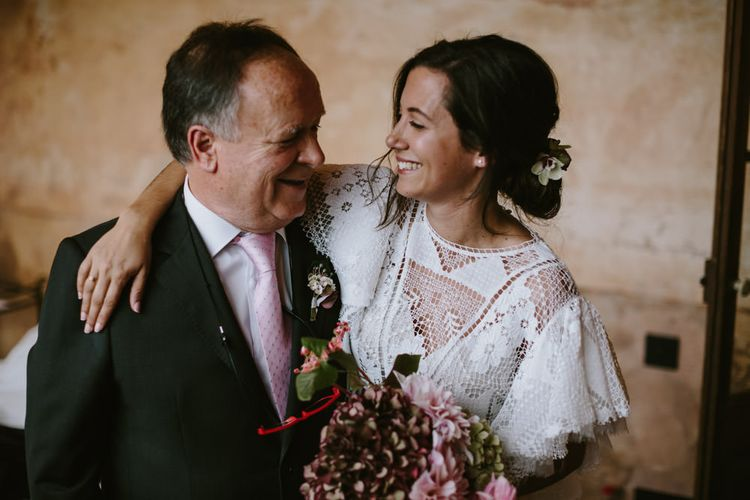 Father of the Bride & Bride in Nevenka Lace Bridal Gown | Spanish Wedding at Can Valldaura Planned by Collage eStudio | Images by Marcos Sanchez | Monika Frias Videography