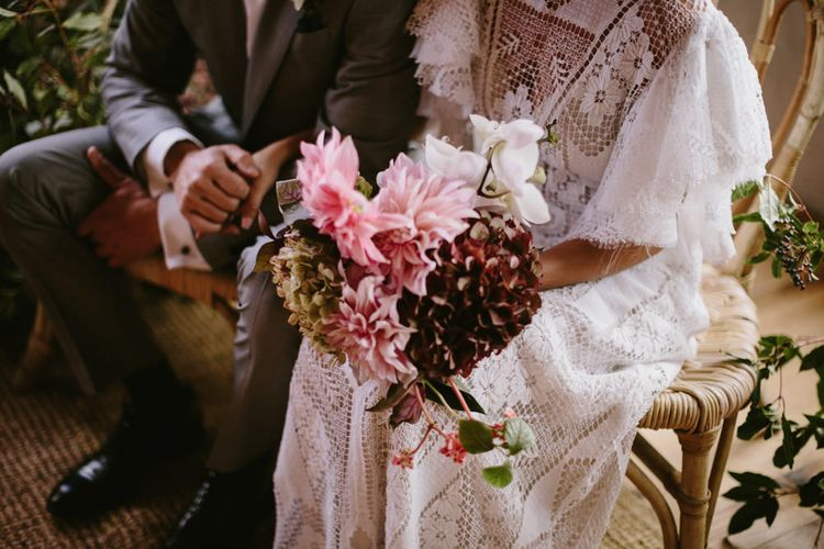 Burgundy & Pink Bridal Bouquet | Spanish Wedding at Can Valldaura Planned by Collage eStudio | Images by Marcos Sanchez | Monika Frias Videography
