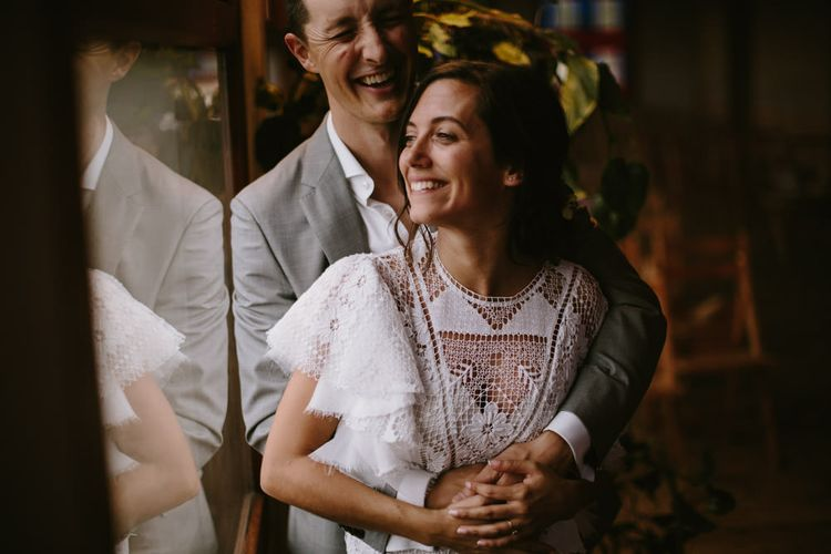 Wedding Ceremony | Bride in Nevenka Lace Bridal Gown | Groom in Grey Suit | Spanish Wedding at Can Valldaura Planned by Collage eStudio | Images by Marcos Sanchez | Monika Frias Videography