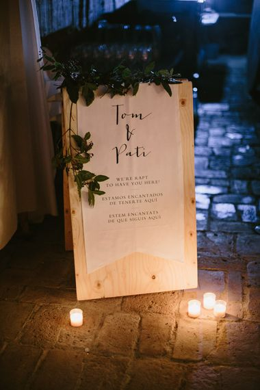 Wedding Sign | Spanish Wedding at Can Valldaura Planned by Collage eStudio | Images by Marcos Sanchez | Monika Frias Videography