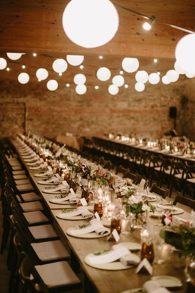 Festoon Lights | Minimalist Tablescape | Spanish Wedding at Can Valldaura Planned by Collage eStudio | Images by Marcos Sanchez | Monika Frias Videography