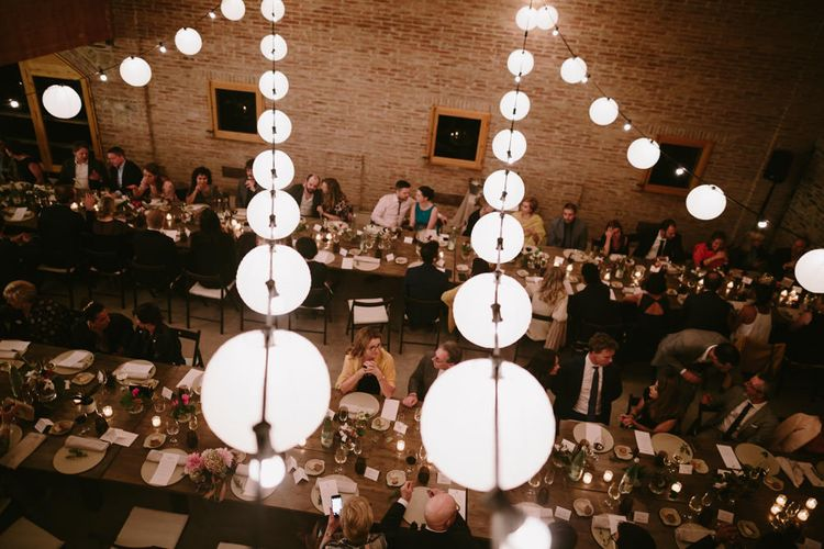 Tablescape & Festoon Lights | Spanish Wedding at Can Valldaura Planned by Collage eStudio | Images by Marcos Sanchez | Monika Frias Videography