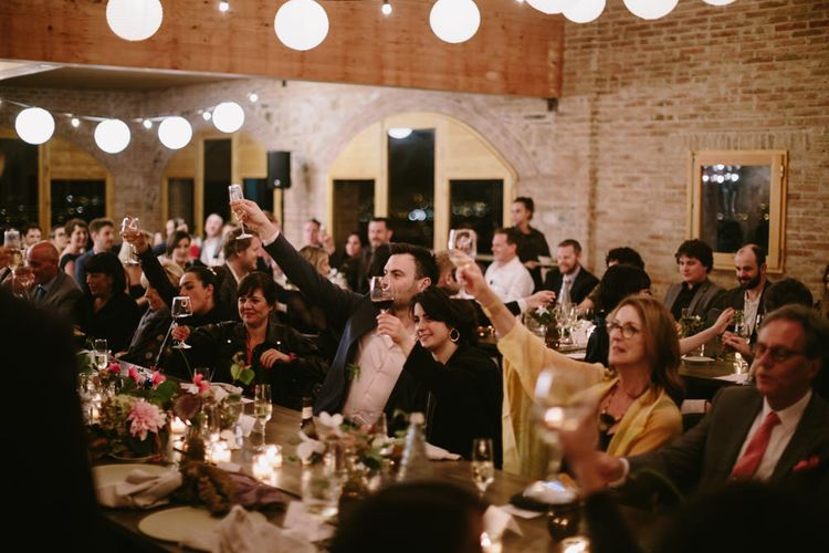 Rustic Reception with Festoon Lights | Spanish Wedding at Can Valldaura Planned by Collage eStudio | Images by Marcos Sanchez | Monika Frias Videography