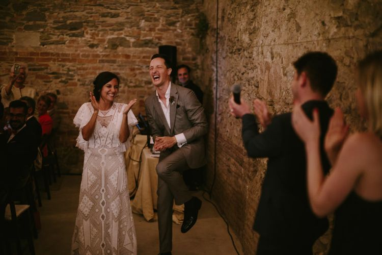 Bride in Lace Nevenka Wedding Dress | Spanish Wedding at Can Valldaura Planned by Collage eStudio | Images by Marcos Sanchez | Monika Frias Videography