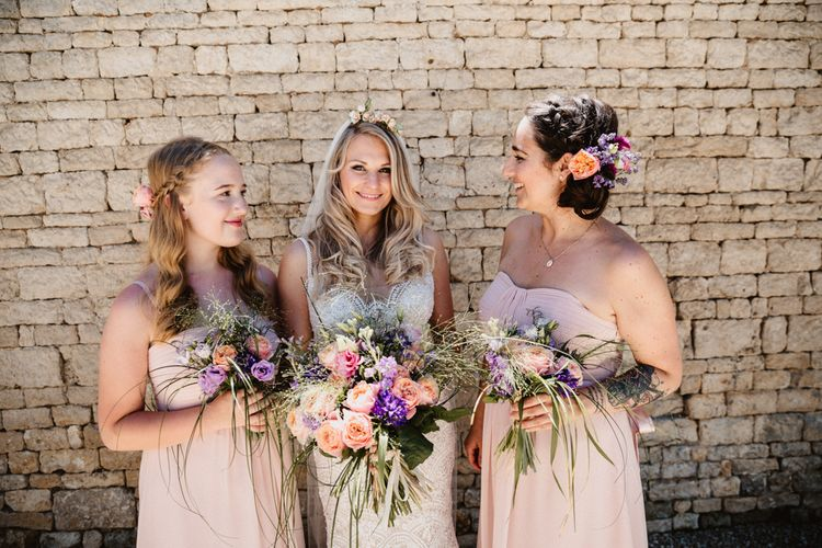 Bride & Bridesmaids Bouquets In Pink
