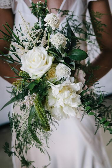 White Flower Wedding Bouquets By Grace And Thorn // Trinity Buoy Wharf Wedding With Bride In Otaduy And Planning By Liz Linkleter Events Flowers By Grace And Thorn Images From My Beautiful Bride Photography
