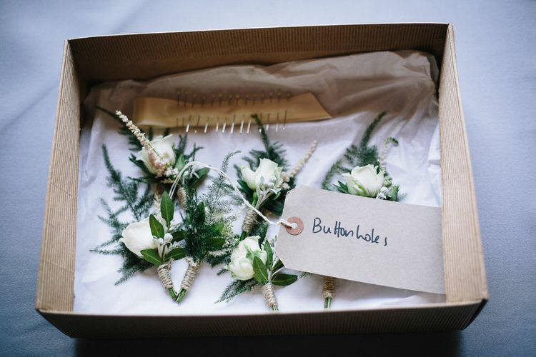 Simple Buttonholes For Wedding // Trinity Buoy Wharf Wedding With Bride In Otaduy And Planning By Liz Linkleter Events Flowers By Grace And Thorn Images From My Beautiful Bride Photography