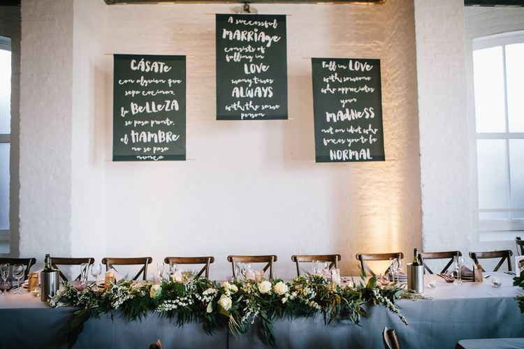 Large Wedding Signs With Brush Lettering // Trinity Buoy Wharf Wedding With Bride In Otaduy And Planning By Liz Linkleter Events Flowers By Grace And Thorn Images From My Beautiful Bride Photography