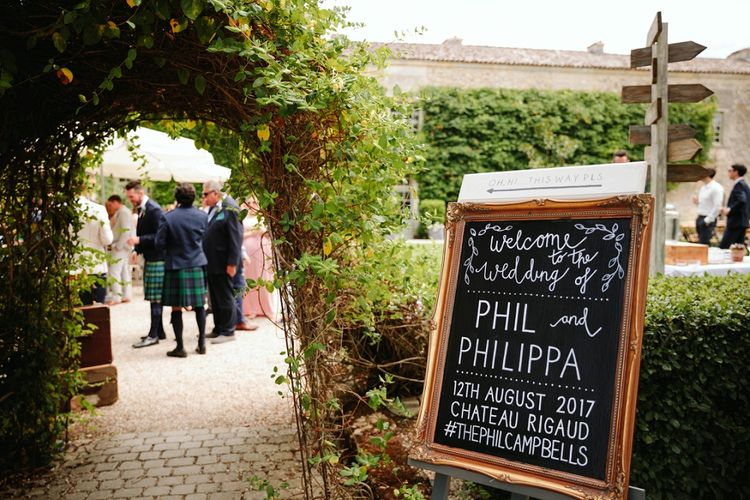 Chalkboard Wedding Sign | Outdoor Wedding at Chateau Rigaud in France | Real Simple Photography | Yellow Gazelle Film