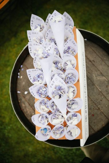Confetti Cones | Outdoor Wedding at Chateau Rigaud in France | Real Simple Photography | Yellow Gazelle Film